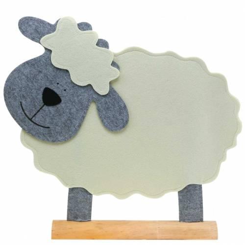 Owca stojąca z filcu kremowa, szara 51×7cm H47cm
