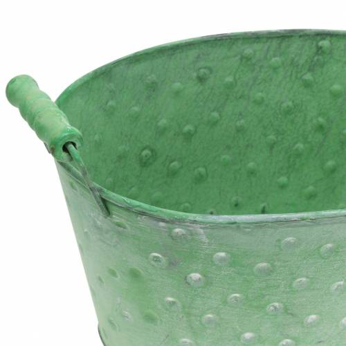 Misa dekoracyjna Planter Metal Green Oval 25,5x18,5cm H13cm
