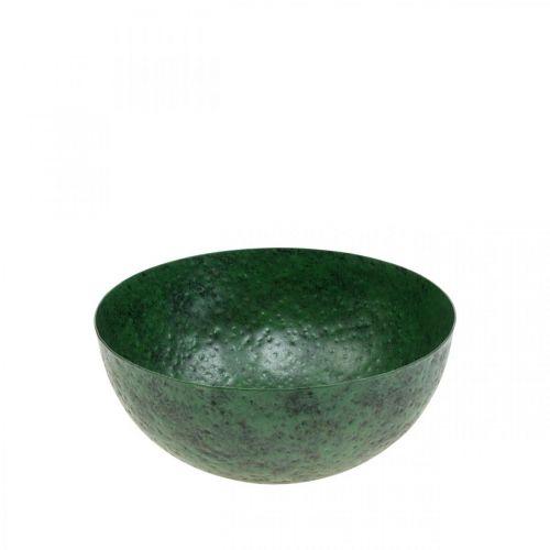Deco Miska Metalowa Zielona Dekoracja Stołu Vintage Ø21cm