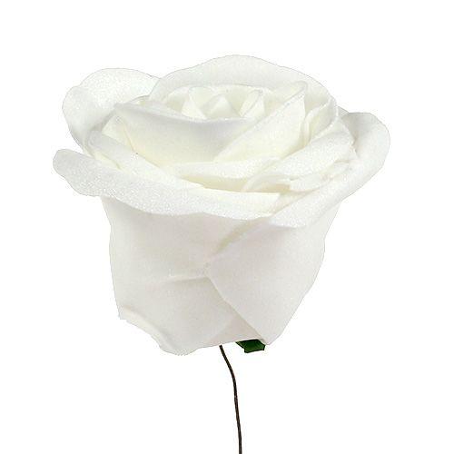 Róże piankowe białe z masą perłową Ø6cm 24szt.