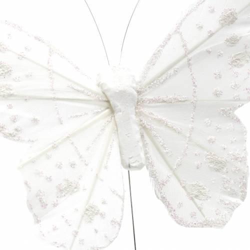 Motyl z piór na druciku biały z brokatem 10cm 12szt.