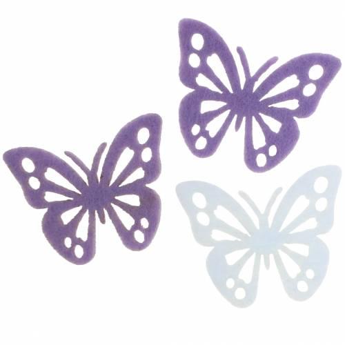 Filcowy Motyl Dekoracja Stołu Fioletowy Biały Asortyment 3,5x4,5cm 54 szt.