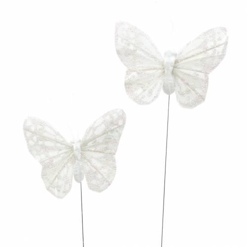 Motyl piórko z drutu biały, brokat 5szt 24szt
