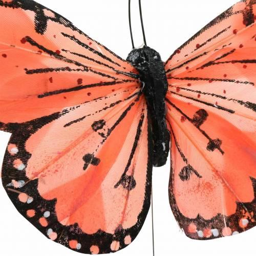 Motyl z piór z drutu kolor łososiowy i fioletowy 10cm 12 szt.