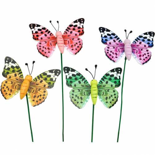 Ozdobny motylek na patyku, wtyczka kwiatowa, dekoracja wiosenna, 16szt