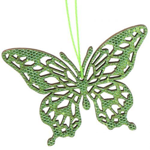 Deco Zawieszka Motyl zielony brokat8cm 12szt.