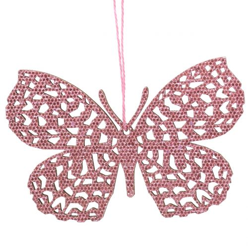 Ozdobny wiszący motyl różowy brokat 10cm 6szt