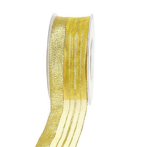 Wstążka jubilerska z paskami lureksowymi złota 40mm 20m