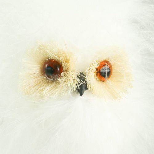 Śnieżna sowa na drewnianym patyku 7cm L28cm 6szt.