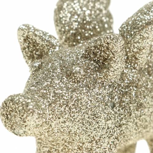 Świnka dekoracyjna ze skrzydełkami złota mika 6cm