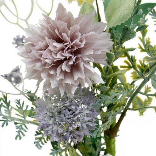 Jedwabne kwiaty w pęczku, dekoracja letnia, chryzantema i oset kulisty, sztuczne kwiaty L50cm