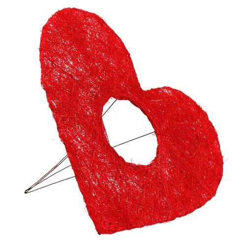 Mankiet sizalowy serce 25cm czerwony 10szt