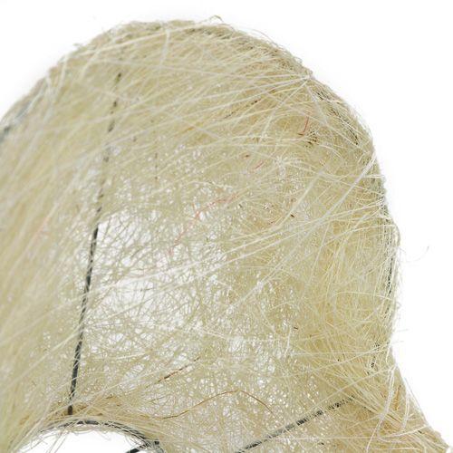 Sizalowe mankietowe serce 15 cm x 19 cm bielone 1 szt