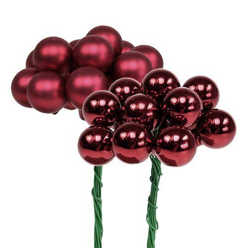 Mini Christmas Ball Red, Pink Glass Mirror Berries Ø20mm 140szt