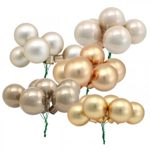 Mini Christmas Ball Gold, Cream, Grey Mirror Berries Ø40mm 32szt.