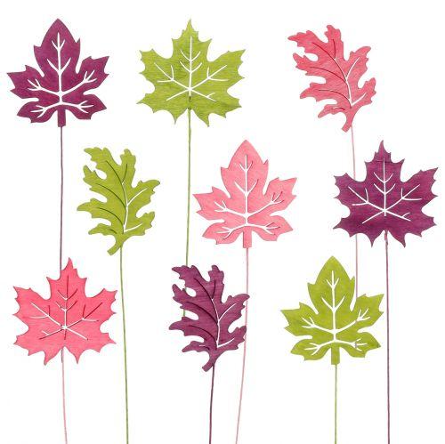 Wtyczka dekoracyjna liść różowy, zielony, Bordeaux 8cm 18szt