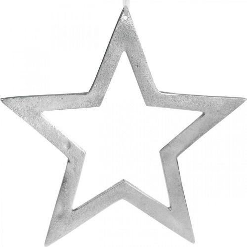 Gwiazda dekoracyjna do zawieszenia srebrna aluminiowa dekoracja drzwi Ø28cm