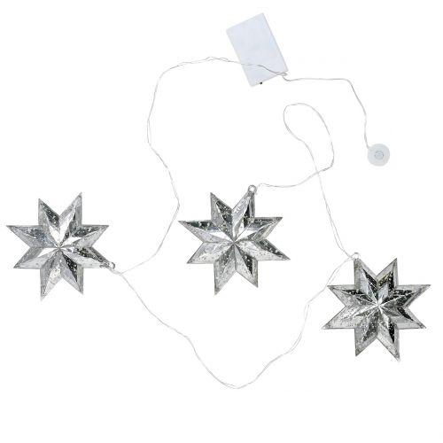 Łańcuch gwiazdkowy srebrny akrylowy 150cm x3 z diodą LED na baterie