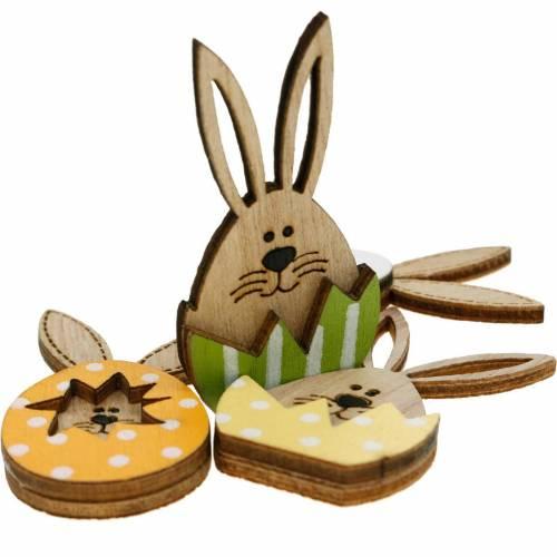 Dekoracja rozsypanka zajączek w jajku, dekoracja na prezent, jajko zajączek do dekoracji, drewniana dekoracja do naklejania 12szt.