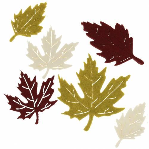 Rozproszone jesienne liście filc Bordeaux / kremowy / zielony 72szt