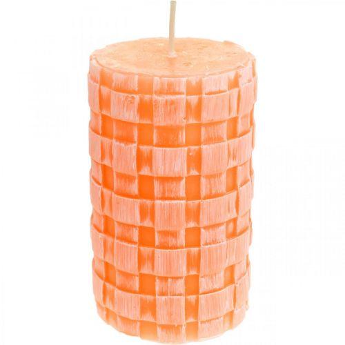 Świece Rustic, świece filarowe wzór koszyczek, świece woskowe pomarańczowe 110/65 2szt.