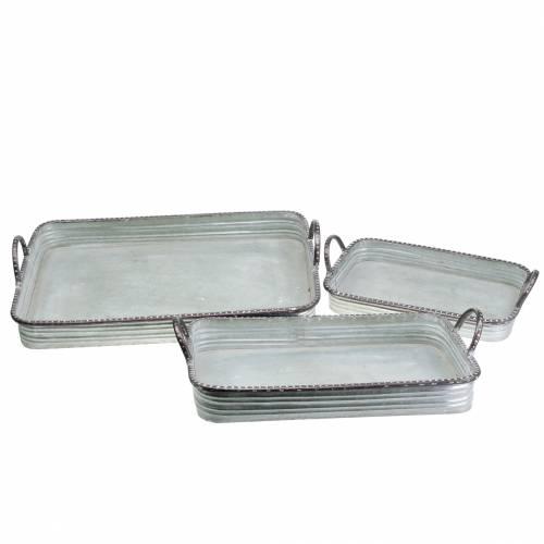 Taca Deco z uchwytami Metal Silver 30cm/37cm/45cm Zestaw 3 szt.