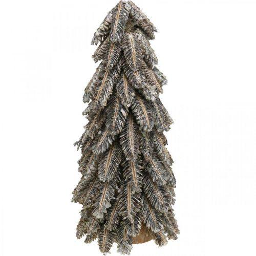 Jodła szyszka, dekoracja świąteczna, zimowa jodła śnieżna, biała myta H40cm Ø18cm