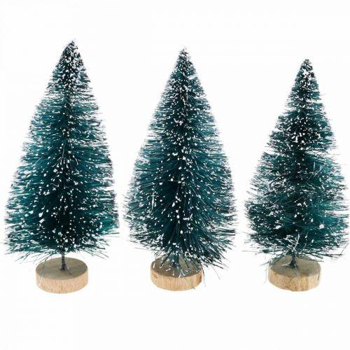 Mini jodły śnieżne, zimowy las, dekoracja adwentowa H9cm Ø4cm 3szt.