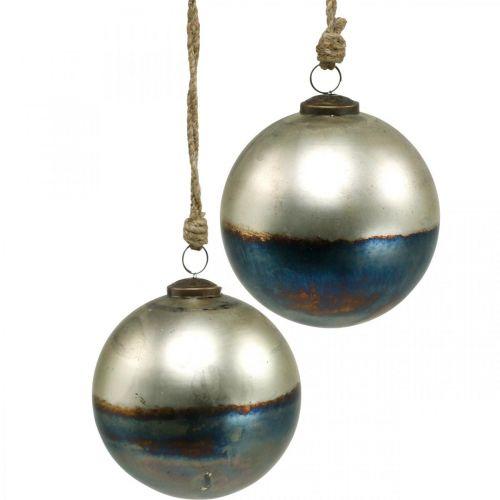 Kule świąteczne dwukolorowe szklane Ø12cm Niebieskie, Metaliczne 2szt.
