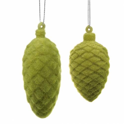 Stożek dekoracyjny flokowany mech zielony 9,5cm/8cm 12szt.