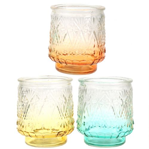 Tealight Jar Orange/Yellow/Turquoise Ø8cm 3szt.