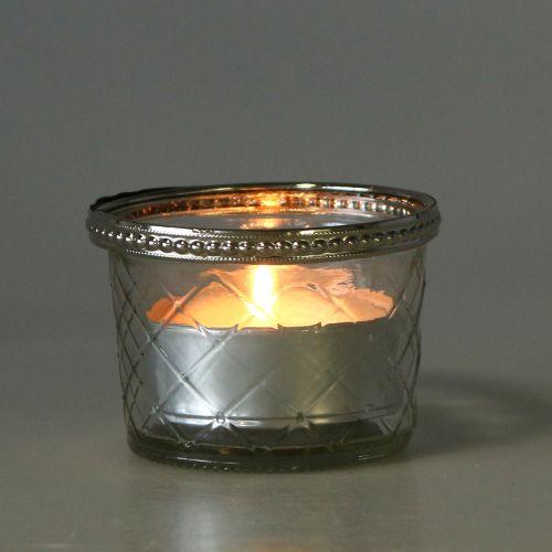 Słoik na tealight w kształcie rombu z metalową obręczą Ø8cm H5,5cm 4szt.