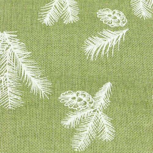 Wstążka na stół z motywem jodły zielona 20cm 5m