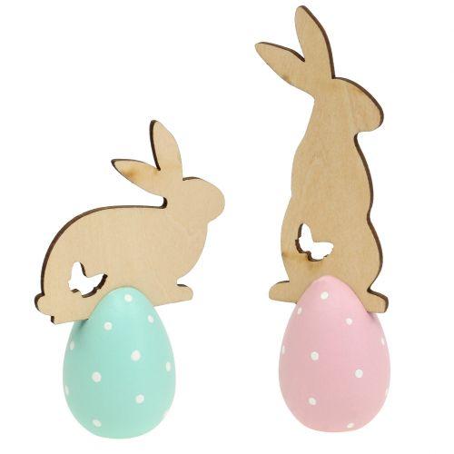 Wielkanocna dekoracja stołu z królikiem 9cm - 12cm 2szt