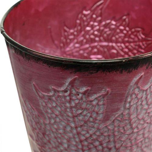 Podstawka z dekorem liści, Metalowe naczynie, Jesień, doniczka na rośliny Wine Red Ø10cm H10cm