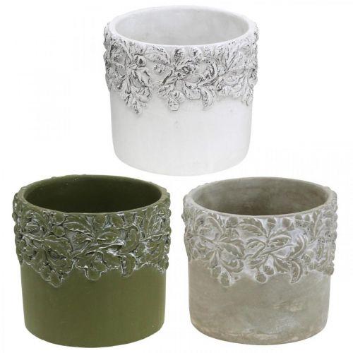 Doniczka ceramiczna, doniczka z dekorem dębu, doniczka zielona/biała/szara Ø13cm H11,5cm Zestaw 3 szt.