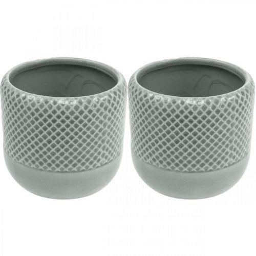 Doniczka z wzorem wiklinowym, doniczka ceramiczna, doniczka ceramiczna Ø16cm 2szt.