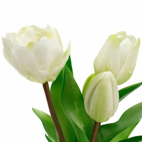 Sztuczny bukiet tulipanów, jedwabne kwiaty, tulipany Real Touch White