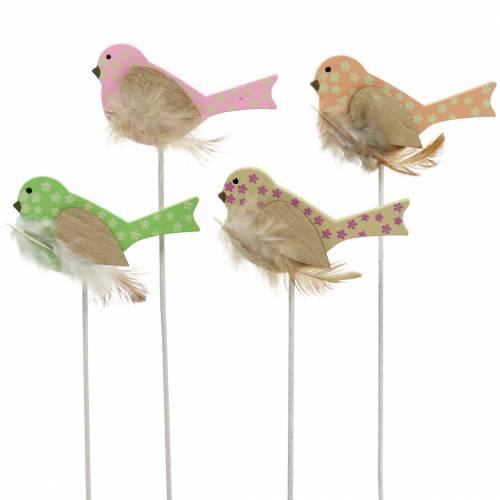 Korek dekoracyjny ptaszek drewno zielony, różowy, żółty, pomarańczowy różne 7cm x 4cm H24cm 16szt.