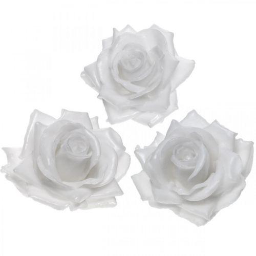 Róża woskowa biała Ø10cm woskowany sztuczny kwiat 6szt