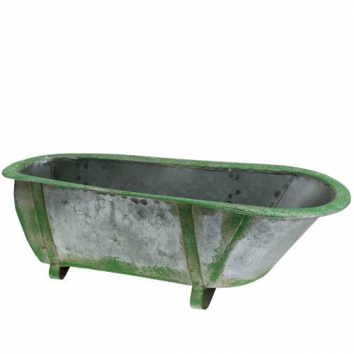 Deco Tub Metal Used Silver, Green 44,5cm x18,5cm x 15,3cm