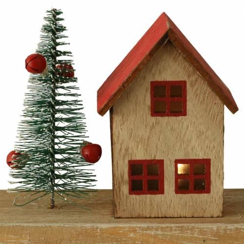 Wioska bożonarodzeniowa z oświetleniem LED naturalne, czerwone drewno 40 × 10,5 × 7cm