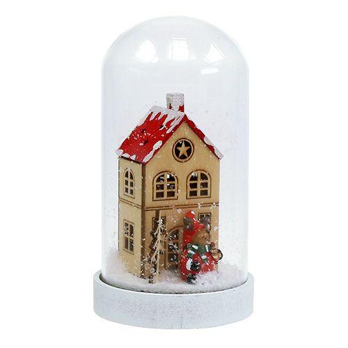 Dom świąteczny z dzwonkiem szklanym Ø9cm W16.5cm
