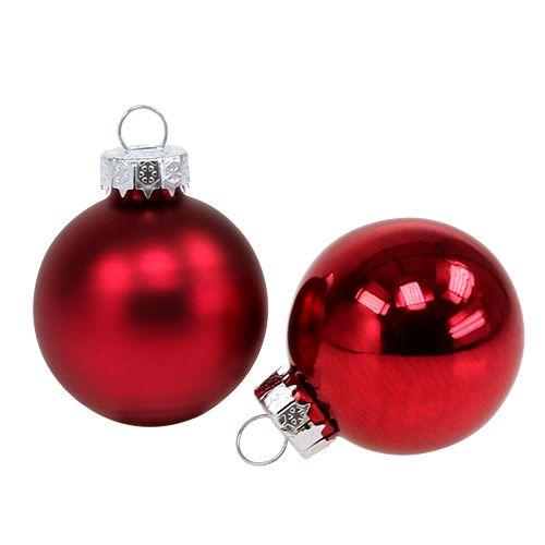 Kula Świąteczna Ø4cm Czerwona Błyszcząca/Matowa 24szt