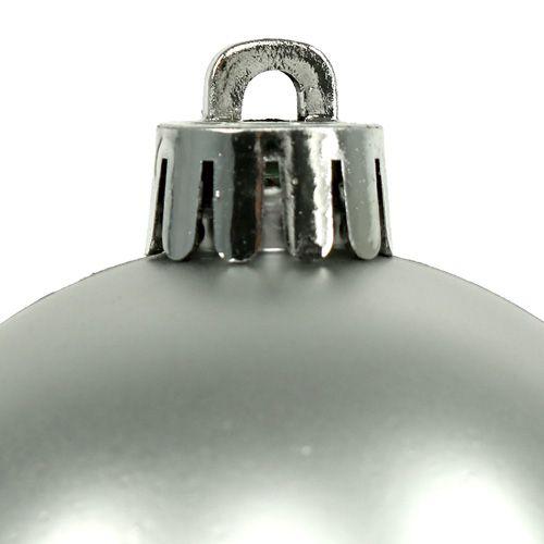 Kula Świąteczna Plastikowa Ø6cm Srebrna Mix 12szt