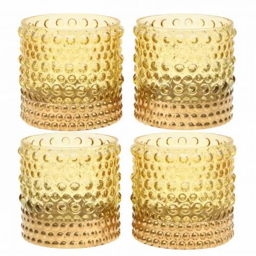Lampion szklany żółty, złoty Ø8,5cm H8cm 4szt.