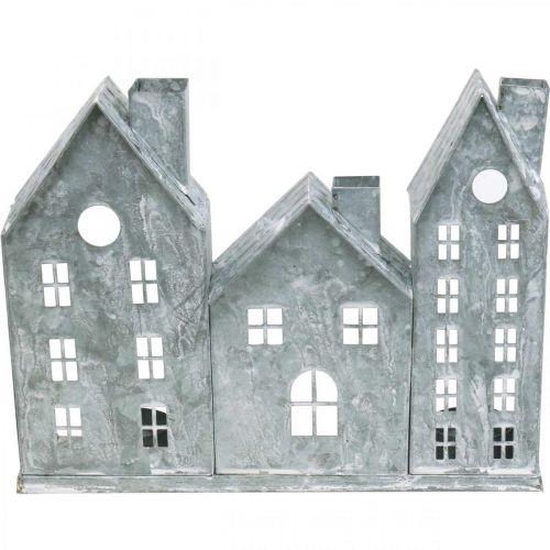 Dekoracja okna Boże Narodzenie, światło wiatr, wiersz dom Diorama, dekoracja metalowa srebrny Shabby Chic L37,5cm H20cm