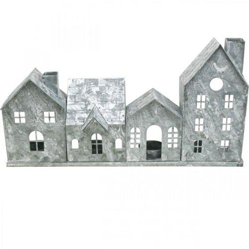 Domy światła, metalowy lampion, dekoracja okna, Adwent, srebrny Shabby Chic L37,5cm H20cm