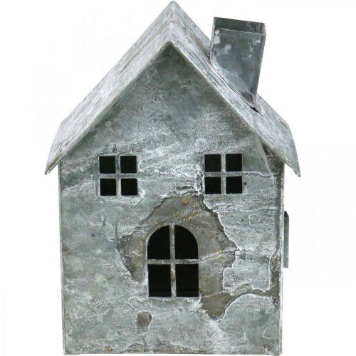 Dom Latarnia Metal, Shabby Chic, Dekoracja świąteczna, Biały myte, Antique Look H14,5cm