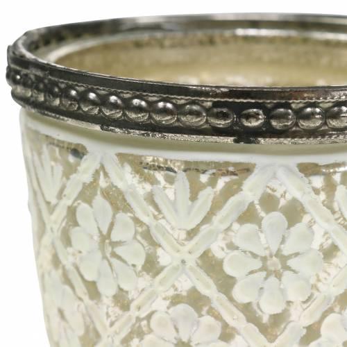 Lampion chłopski srebrny kwiatowy Ø7,5cm H7,5cm 2szt.